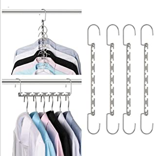Hanger Space Saving 6 Pack Space Saving Clothes Stainless Steel Magic Space Saver Closet Organizer Silver-6_6