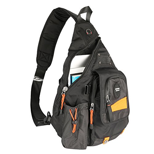 Innturt Large Sling Bag Backpack Pack 13' 14' Laptop Bag Satchel School Travel Black