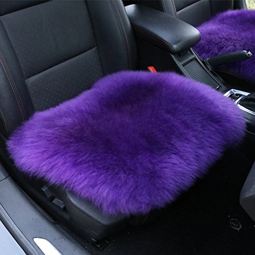 Altopcar Wool Car Interior Seat Cover, Fluffy Faux Sheepskin Seat Cushion Pad Winter Mat Universal Fit for Comfort in Auto, Plane, Office, or Home(18 Inch X 18 Inch) (1Pcs Purple)