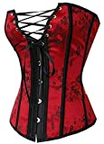Kelvry Womens Waist Cincher Lace up Boned Basque Corset Shapewear Red Plus Size