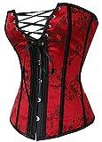 Kelvry Gothique Bustier Florale Lycra Jacquard Lacets Corset Rouge S-6XL