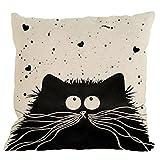 Nunubee housse de coussin Modèle de chat noir et blanc coussin decoration decoratif canape deco canapé scandinave Décoration de voiture, style 4 Polyester et lin mélangé (lin) 45x45cm