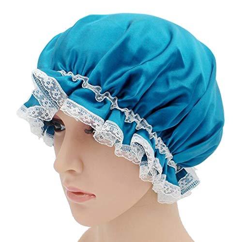 WJH Sleeping Cap pour Les Femmes en Soie Naturelle avec Sommeil Caps Bande élastique pour Cheveux Perte de Sommeil sur la Protection des Cheveux (2 pièces),Bronze