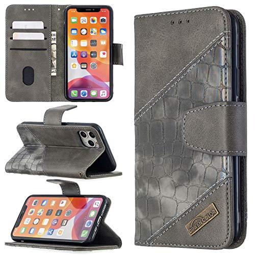 Miagon iPhone 11 Pro Max Stoßfest Brieftasche Hülle Cover,Krokodil Spleißen PU Lederhülle Ständer Kartenfächer Magnetverschluss Silikon Handytasche,Grau