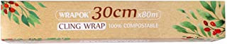 WRAPOK 100% Compostable Cling Wrap Roll Bio Corn PLA Food Freezer Film with Slide Cutter - 258 Square Feet