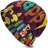 Fondo púrpura Abstracto Helados Dulces Objetos de Fiesta como Letras Moda navideña Gorro Unisex cálido Gorra Sombrero
