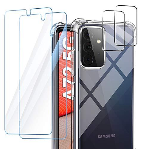AROYI Handyhülle Kompatibel mit Samsung Galaxy A72 Hülle 5G/4G mit 2 Stück Panzerglas und 2 Stück Kamera Panzerglas, Soft Silikon Case - Transparent
