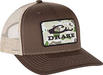 Drake Waterfowl Old School Camo Patch Logo Mesh Back Ball Cap  Brown/Khaki