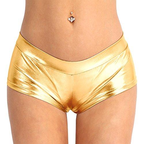 YiZYiF Damen Hotpants Wetlook Strings Schwarz Reizwäsche Erotik Dessous Unterwäsche Ouvert-Slip Shorts Gold Large