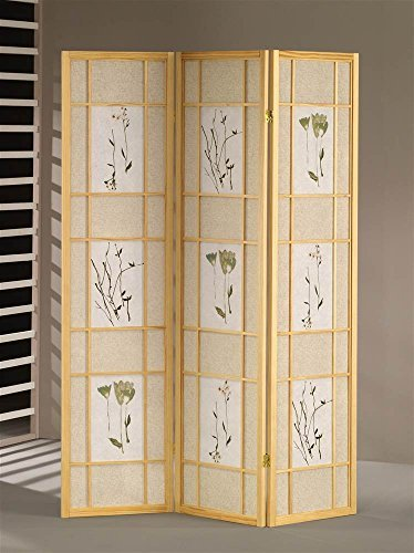ADF 5442 3-Panel Shoji Screen with Natural Finish Frame by ADF