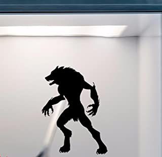 BIBITIME Halloween Man Wolf Vinyl Decal for Living Room Study Classroom Nursery Kids Room Wall Decor Festival Shop Showcase Display Window Sticker PVC Decorations