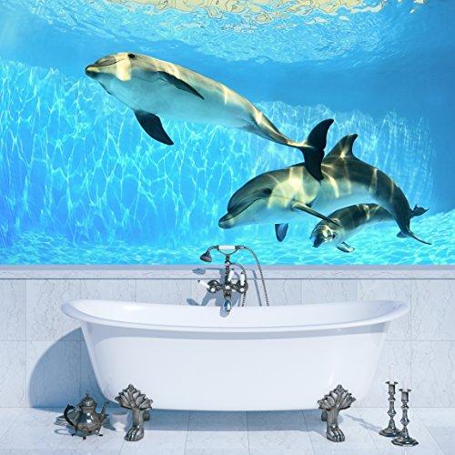 PVC Fototapete – ECO Wandbild Selbstklebende Tapete – 3D Vinyl Wandsticker - Delfine unter Wasser SW115(200x140CM)