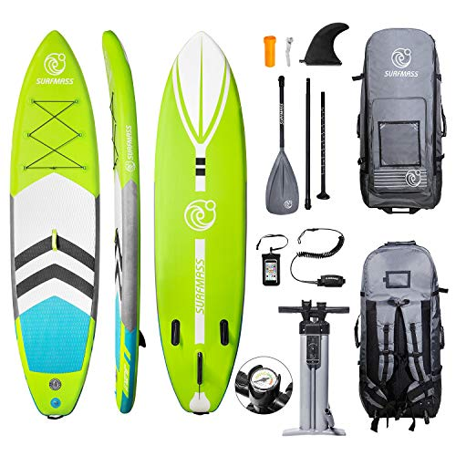 "SURFMASS Inflatable SUP 11' L x 6"" T x 32"" W Stand Up Paddle Board Stance iSUP with Adjustable Fiberglass Paddle, Dual Chamber Hand Pump, Wheeled Travel Backpack, Safety Ankle Leash, Fin (Green)"