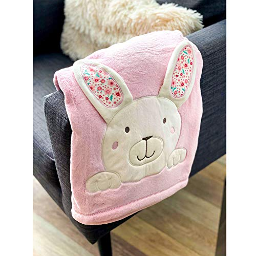 Baby Super Soft Fleece Cuddly Wrap Blanket Reversible Design Pram Cot Crib Throw Boy Girl Infant Gift Cosy Travel Blanket Embroidered Cute Patterns