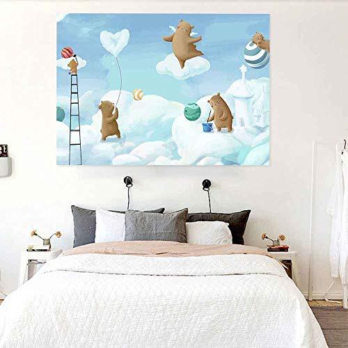 JXWR Tapiz de Dibujos Animados Dinosaurio Barco Pirata Bosque Tapiz Colgante de Pared Sala de Estar Dormitorio decoración del hogar 150x130 cm