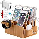 Bamboo Charging Station for Multiple Devices (Included 5 Port USB Charger, 5 Pack Charge & Sync Cable, Watch & Air pod Stand), Electronic Device Desktop Organizer for Cell Phone, Tablet, Watch, AirPod