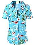 SSLR Women's Flamingo Relaxed Fit Casual Short Sleeve Hawaiian Shirt (Small, Blue)
