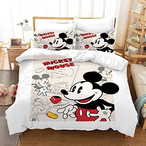 Funda Nórdica Dibujos Animados. Mickey Mouse Juego de Ropa de Cama Juego de 3 Piezas Microfibra...