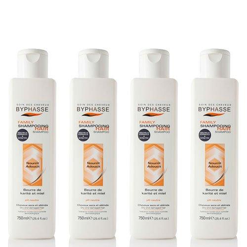 Byphasse LOT DE 4 - Family shampooing beurre de karité et miel cheveux secs et abîmés - 750 ml