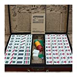 RKRXDH Mahjong Juego Conjunto de Gran tamaño de bambú Retro Mahjong Chino 146 mah-Jong Conjuntos Juegos de Mesa Regalos con Caja