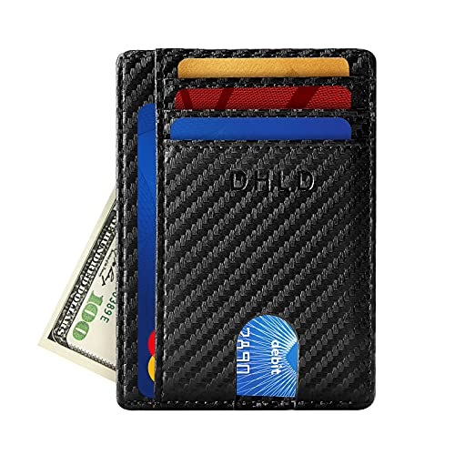 DHLD Mens Slim Minimalist Wallets, RFID Blocking Front Pocket Credit Card Holder with Gift Box, Carbon Fiber