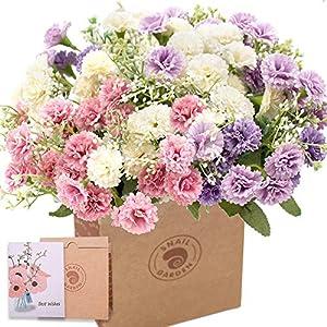 SNAIL GARDEN 3Pack Artificial Carnation Flowers, 20Heads Per Bunche Silk Chrysanthemum Marigold Wildflowers with 1 Vase Kraft Paper Bag for Home Office Table Décor Wedding Flower Bouquet