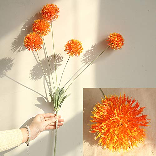 Price comparison product image Fine Artificial Silk Fake Flowers Dandelion Floral Wedding Bouquet Hydrangea Decor (Orange)