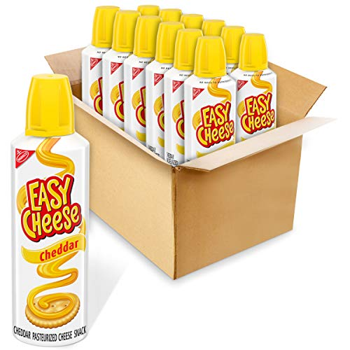Easy Cheese Cheddar Cheese Snack, 12 – 8 oz Cans