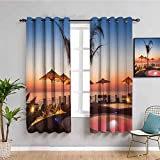 Decoración de la casa cortinas negras para dormitorio verano verano Resort lugar por el mar en la noche Caribe cálido tranquilo relajación foto muebles multi W72 x L72 pulgadas