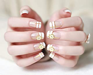 HeeJinn 24Pcs French Nails with 3D Flowers, False Nails Full Cover Square Artificial Nail Acrylic Nails Press on Nails for Brides