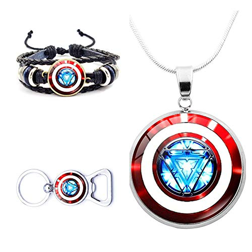 Avengers Superhero Jewelry Necklace Bracelets Keychain for Men Boy Kid Captain America Shield Marvel Accessories Leather Bracelets Set