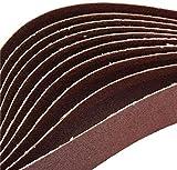 Mnjin Abrasivos industriales 10 bandas de lija de aluminio de 106 x 5 cm, grano 80, papel de lija de óxido autoafilado, tiras abrasivas abrasivas