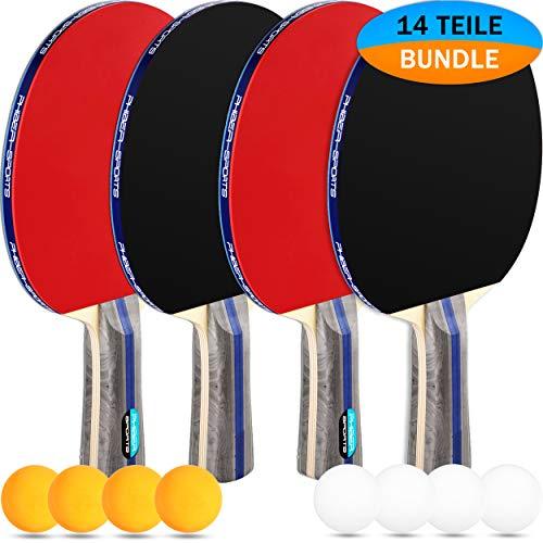 PHIBER-SPORTS Premium Tischtennisschlaeger Set – 4 Tischtennisschläger + 8 Tischtennis-Bälle + Tragetasche + GRATIS EBOOK - Ideal für Anfänger, Familien und Profis, 14-Teilig