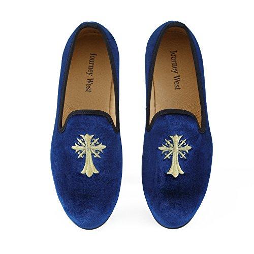 Journey West Herren Vintage Schuhe Samt Slipper Herren Stickerei Noble Herren Schuhe-Slipper Smoking Slipper Mokassins Herren Schuhe Loafers Herren Blau Gr?e: 46