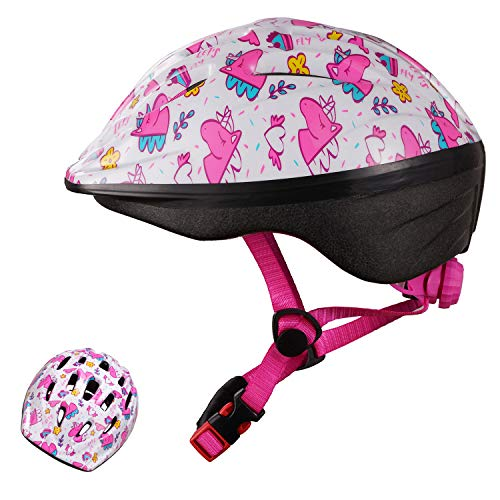 Exclusky Kids Bike Helmet, Lightweight Bicycle Helmets for Children, Adjustable from Toddler to Preschooler, Durable Scooter Helmets with Fun Designs for Boys and Girls Age 3-7 (Pink white)