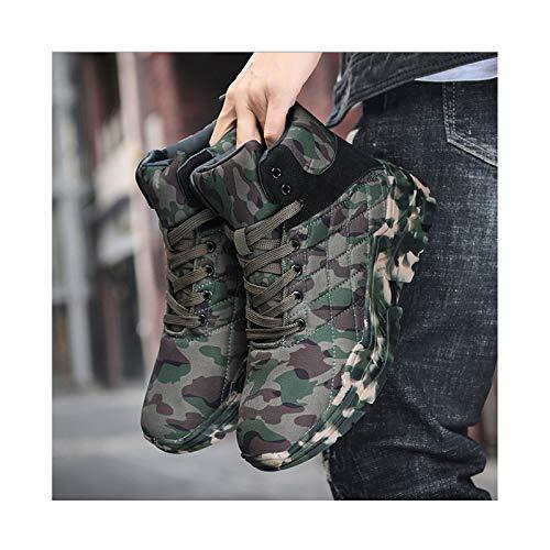 HaoLin Botas Tácticas para Fanáticos del Ejército Botas De Tobillo Calientes Zapatillas De Invierno Zapatos De Trabajo De Felpa,Green-45