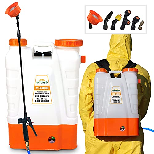 PetraTools 4 Gallon Battery Powered Backpack Sprayer – Extended Spray Time Long-Life Battery - New HD Wand Included, Wide Mouth Lid, Multiple Nozzles & Battery Included
