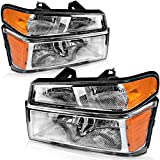 Compatible for 2004-2012 Chevy Colorado/GMC Canyon Headlights, OEDRO Replacement for 06-08 Isuzu i-series 4-Dr & 2-Dr Chrome Housing + Bumper Lights Amber Side Clear Lens Headlamps, 2-Yr Warranty