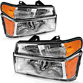 OEDRO Headlights Compatible with 2004-2012 Chevy Colorado / GMC Canyon Headlight Assembly w/ Amber Reflectors Bumper Lights Chrome Housing Headlamps - Driver and Passenger Side