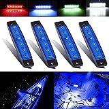 Electrely Luces de Navegación para Barcos, 4 Piezas 12V Lámpara de Navegación Luz de Anclaje Barco Yate Luz Marina Luz Impermeable para Barco Yate (Azul)