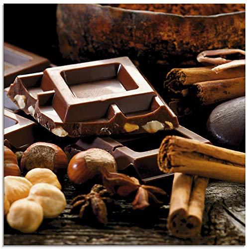 Artland Glasbilder Wandbild Glas Bild einteilig 20x20 cm Quadratisch Essen Süßigkeiten Schokolade Nüsse Küchendeko T5NQ