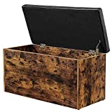 Rolanstar Storage Bench, Flip Top Storage Ottoman, Bed End Stool with Padded Seat, Toy Storage Chest for Entryway, Bedroom, Living Room, 28'', Rustic Brown