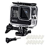 Waterproof Housing Case for GoPro Hero 8, 60M Diving Protective Housing Shell for Gopro Hero 8 Black Action Camera… 8 196FT/60M Gopro 8 Diving Case: Designed with waterproof seal and tightened buckle, REDTRON waterproof housing shell helps to prevent to water leakage effectively. You can use your Gopro Hero 8 to record underwater activities up to 196FT/60M without worrying about the leakage. HD Scratch-proof & Clear Shooting Underwater: The lens of Gopro 8 underwater photography housing is made of ultra-thick transparent tempered glass with with high light transmission which protect your Gopro 8 lens from being scratched and provides you a good shooting results. Upgraded Quick Release Buckle Mount: REDTRON protective housing case for Gopro 8 comes with a quick release buckle mount with 2 type screws. You can attach your Grpro 8 black to accessories such as tripod, bicycle mount, suction cup mount. (Note: accessories are NOT included)