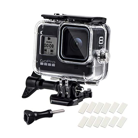 Waterproof Housing Case for GoPro Hero 8, 60M Diving Protective Housing Shell for Gopro Hero 8 Black Action Camera… 1 196FT/60M Gopro 8 Diving Case: Designed with waterproof seal and tightened buckle, REDTRON waterproof housing shell helps to prevent to water leakage effectively. You can use your Gopro Hero 8 to record underwater activities up to 196FT/60M without worrying about the leakage. HD Scratch-proof & Clear Shooting Underwater: The lens of Gopro 8 underwater photography housing is made of ultra-thick transparent tempered glass with with high light transmission which protect your Gopro 8 lens from being scratched and provides you a good shooting results. Upgraded Quick Release Buckle Mount: REDTRON protective housing case for Gopro 8 comes with a quick release buckle mount with 2 type screws. You can attach your Grpro 8 black to accessories such as tripod, bicycle mount, suction cup mount. (Note: accessories are NOT included)