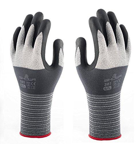 Showa 381 CAT. II EN388 - Guantes de trabajo multiusos con camiseta de microfibra, agarre al aceite, spandex, color negro y gris, talla 10 (XXL)