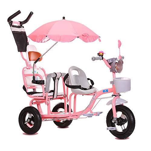GUO@ Tricycle pour Enfants Double Baby Buggy Poussette Musique Light Twin Trolley Baby Portable 1-3-6 Ans Grand Titanium Roue Vide Landau avec Parapluie