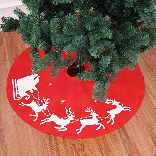 Topanke Weihnachten rot Baum Rock 100 cm Christbaumständer Standfuß Dekoration Rentier Hirsch, Schürze Festive Ornament (Rot)