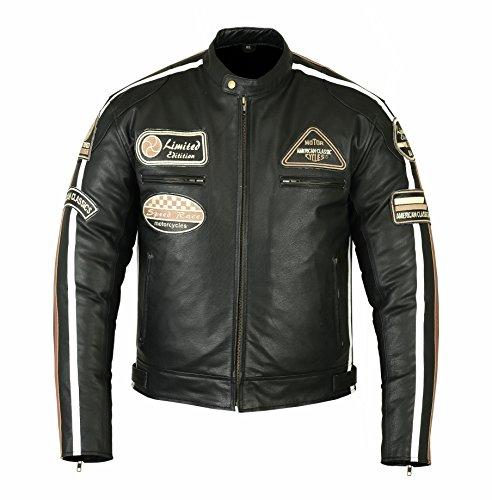 Bstarmoto Chaqueta De Cuero Para Moto, Chaqueta Con Protecciones, Leather JAcket With Protections (Negro, 5XL)