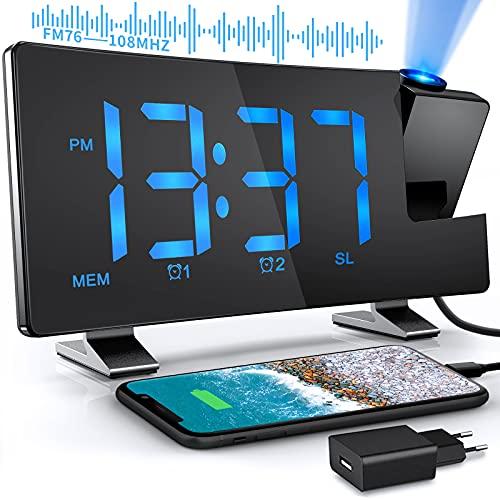 TAKRINK Sveglia con Proiettore Radiosveglia Digitale da Comodino 12/24H Display LED a 180° Luminosità a Proiezione Rotante Regolabile con Sveglie FM Radio 2 e Cavo USB