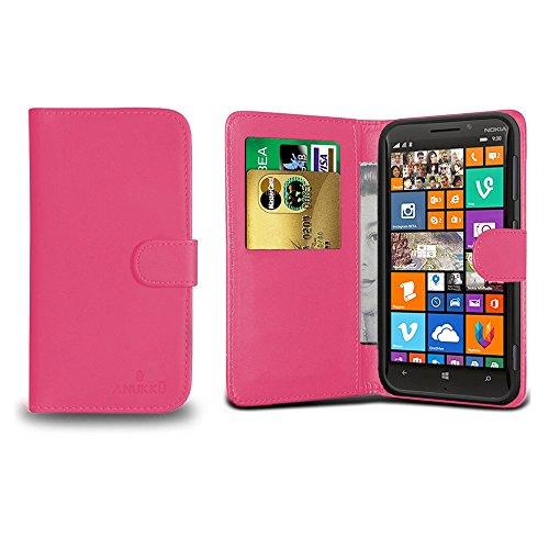 Anukku Custodia Flip Cover Stand Portafoglio in Pelle Nokia Lumia 930 Colore Fucsia + Pellicola